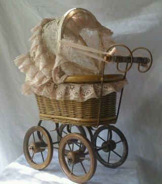 Vintage White Minature Baby Stroller Buggy Carriage Wooden Wick Metal 14