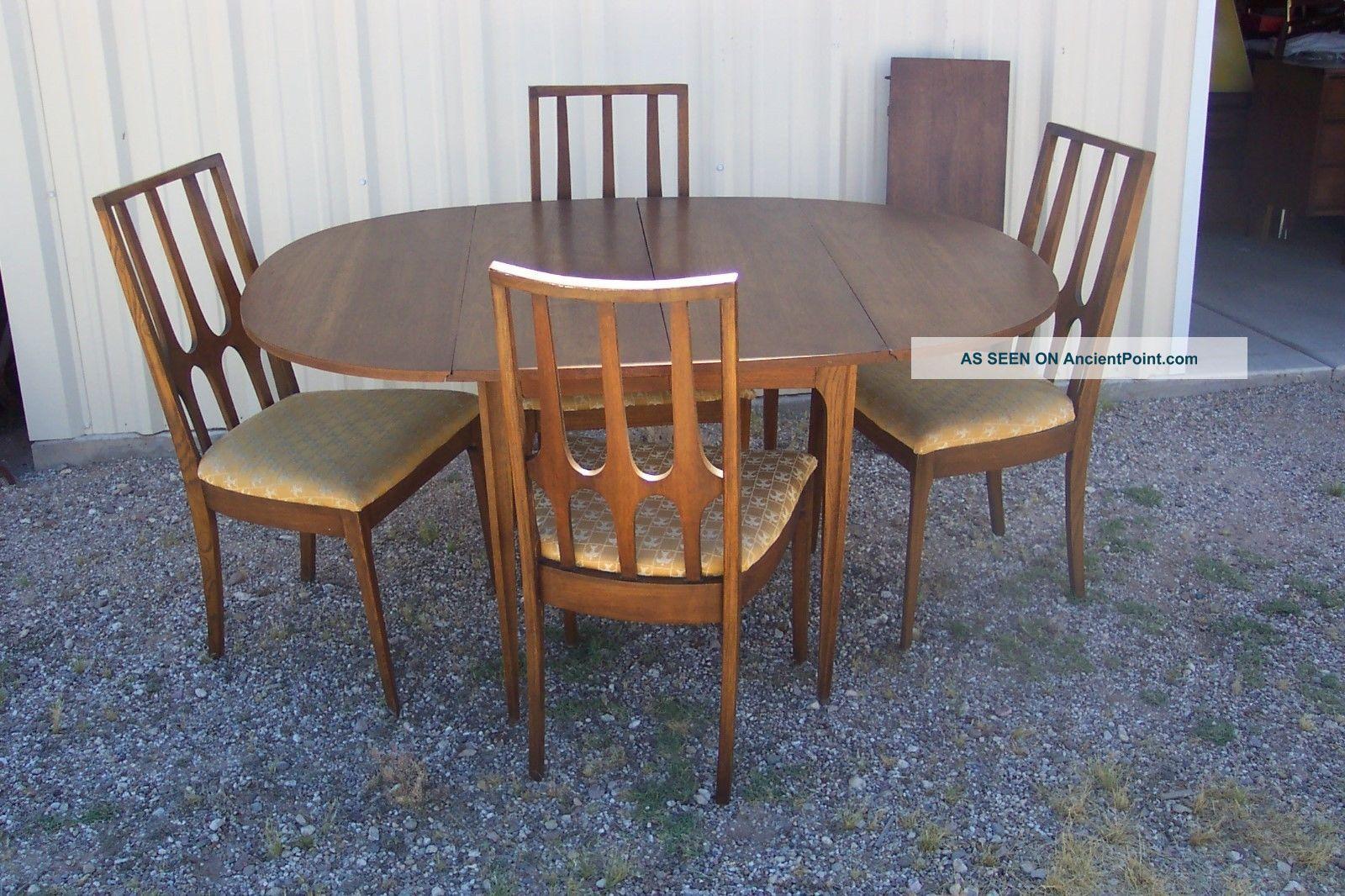 Vtg.  Mid Century Modern Broyhill Brasilia Folding Dining Table 4 Chairs Leaf Post-1950 photo