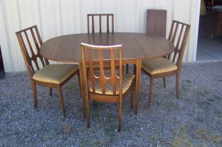 Vtg.  Mid Century Modern Broyhill Brasilia Folding Dining Table 4 Chairs Leaf photo