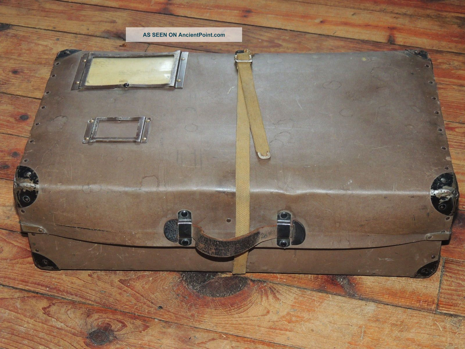 Antique Vintage Cardboard Trunk Box Suitcase With Metal Corners 1900-1950 photo