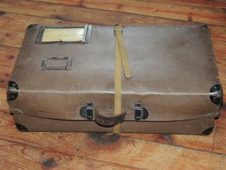 Antique Vintage Cardboard Trunk Box Suitcase With Metal Corners photo