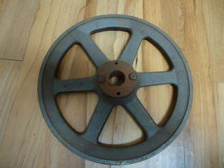 Vintage Steel Wheel Antique Rustic Pulley Steampunk Lamp Base Garden Decor photo