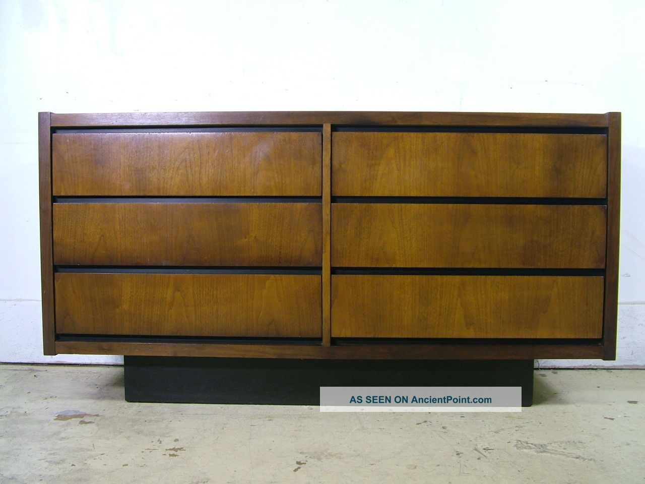 Mid Century Modern Danish Walnut Hidden Drawer Credenza Sideboard Dresser Lane Post-1950 photo