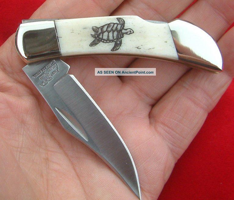 Scrimshaw Sea Turtle,  Frost Cutlery,  Lockback,  Folding Knife/knives Scrimshaws photo