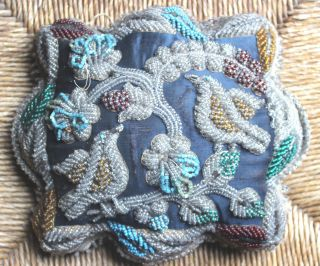 Lg.  Antique Iroquois Nation Tuscar0ra/mohawk Beaded Pillow/pin Cushion Twin Birds photo