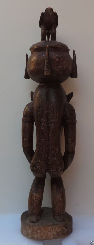 Rare Old African Carved Wood Senufo Tribal Statue,  Man With Ritual Dancing Mask. photo