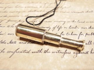 Vintage Antique Style,  Brass Collapsible Pirate Telescope Pendant Necklace photo