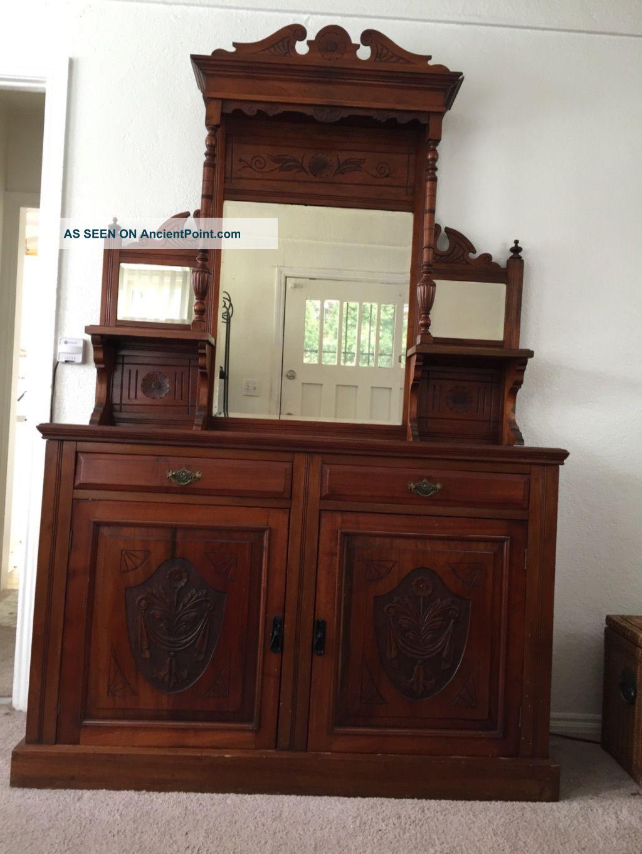 Antique Mahogany Victorian Buffet Hutch 1800-1899 photo