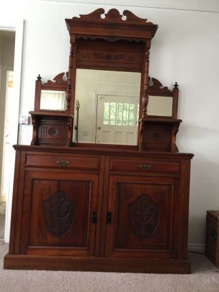 Antique Mahogany Victorian Buffet Hutch photo