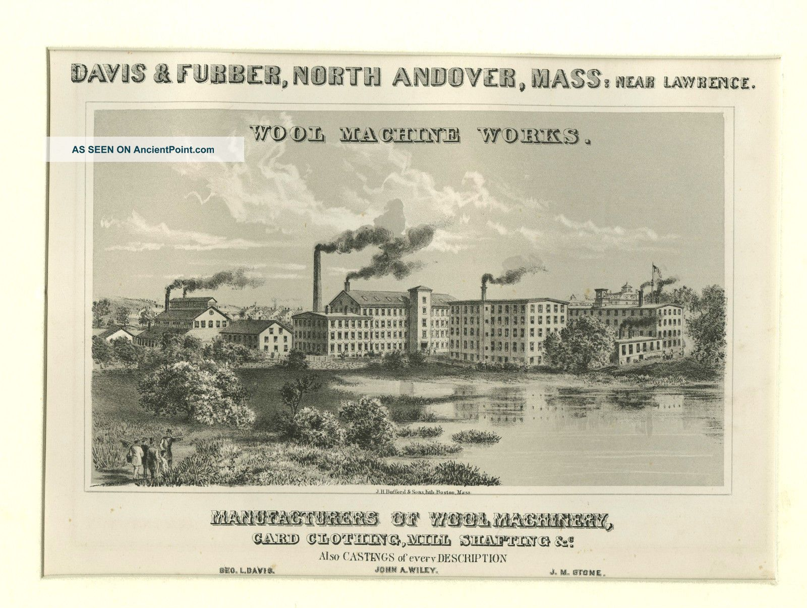 Davis & Furber Factory,  North Andover,  Ma,  Print Circa 1879 - Charming Local Other photo