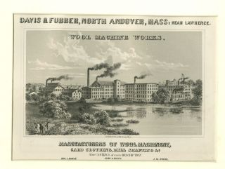 Davis & Furber Factory,  North Andover,  Ma,  Print Circa 1879 - Charming Local photo