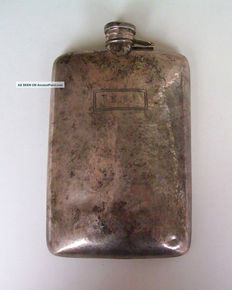 Antique Webster Sterling Silver Hip Flask Large 925 Not Scrap 235 Grams Signed Bottles, Decanters & Flasks photo