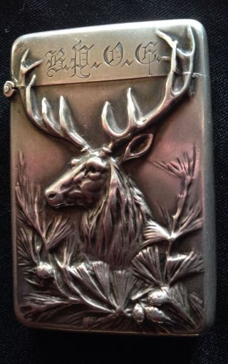 Magnficent Sterling Silver Elk Vesta Or Match Safe photo