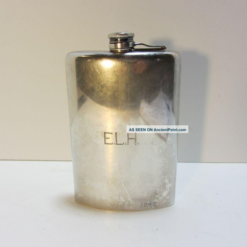 Vintage 1943 Meriden B Co.  International S Co.  Silverplate Flask - Monogram Bottles, Decanters & Flasks photo
