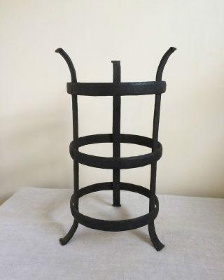 Primitive Antique Wrought Iron Cresset,  Blacksmith - Made photo