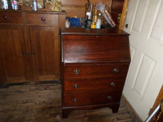 Mahogany Slant Front Top Desk Nr photo