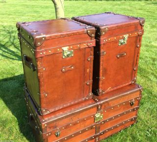 Handmade Vintage Old Leather Campaign Trunks Sofa Side Tables photo