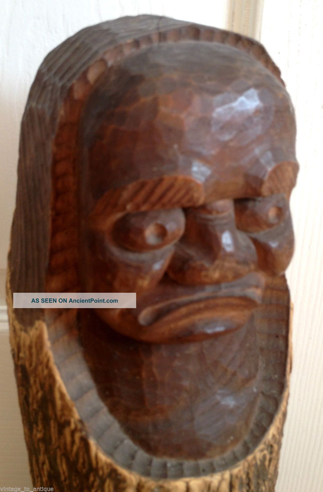 Unusual Large Antique - African Head - Wood Art - Carving Figure Other photo