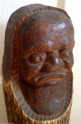 Unusual Large Antique - African Head - Wood Art - Carving Figure photo