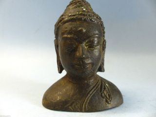 Interesting Early Looking Bronze Buddhas Head - Ancient Example - Very Rare L@@k photo
