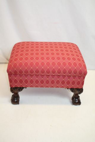 English Chippendale Foot Stool Rest,  Circa 19th,  Reupholstered,  Ready To Use. photo