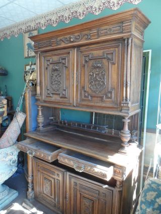 19th Century 3 Section Large Carved French Walnut Cabinet,  Sideboard photo