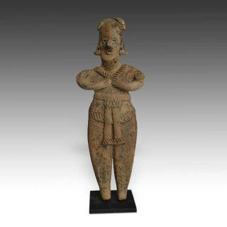 Pre - Columbian Terra Cotta Female Figure Colima West Mexico 100 Bc - 300 Ad photo