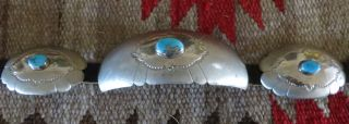 Antique Navajo Indian Signed Old Pawn Silver & Cerrilos Turquoise Concho Belt - photo