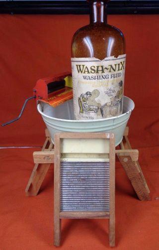 Wash Nix Washing Fluid Bottle Store Display Dunkirk Ny Laundry Soap Wringer Tub photo