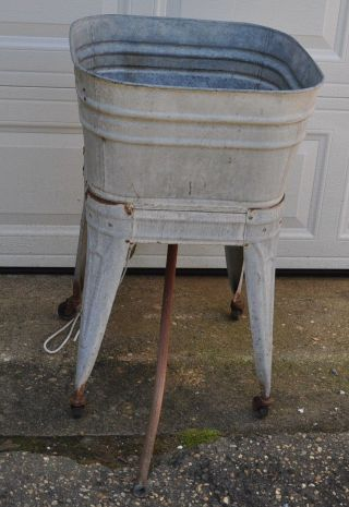 Vintage Galvanized Wash Tub With Stand Flower Planter Outdoor Decor Beer Cooler photo