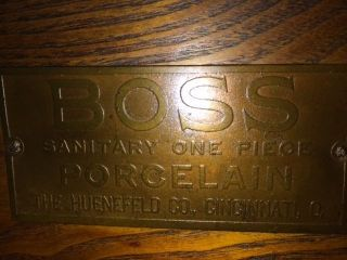 Antique Boss Porcelain Ice Box photo