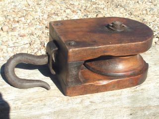 Old Wooden Block Tackle Pulley With Wood Wheel Western 1432 photo