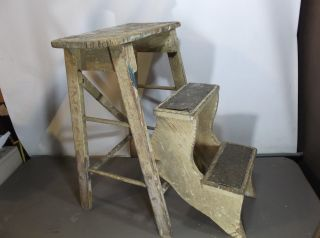 Antique/ Vtg Convertible Wooden Drop Down Step Stool Folding Ladder Old Paint photo