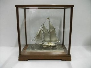 The Sailboat Of Silver980 Of The Most Wonderful Japan.  2 Masts.  Takehiko ' S Work. photo