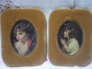 2 Vintage Convex Glass Velvet Framed Silk Pictures - Classic Paintings photo