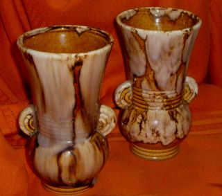 Vintage 1930s Mccoy Vases Art Pottery Brown Marbled Clay Glazed Ear Handle 527 photo