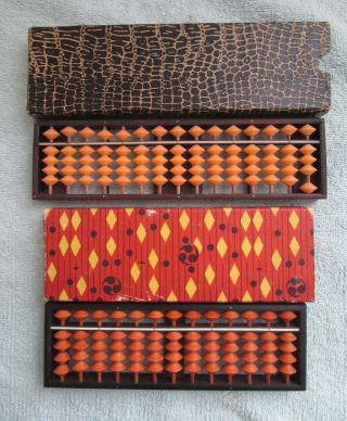 2 Vintage Japanese Soroban Abacus In Boxes Made In Japan Tomoe Brand photo