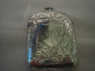 Victorian Solid Silver Vesta Case Birmingham 1894 photo