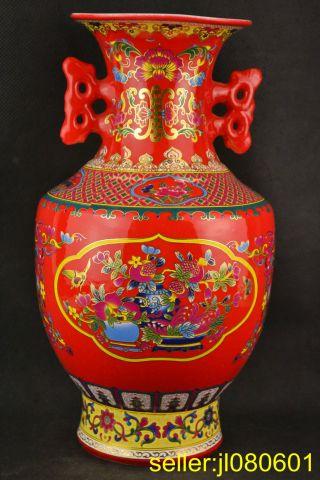 Collectibles Handwork Jingdezhen Porcelain Drawing Flower Ears Big Vase photo