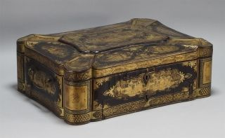 Antique Large 19c Chinese Export Gilt Lacquered Fitted Interior Sewing Box photo
