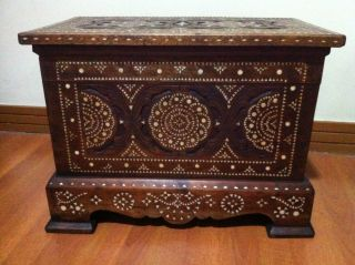 Philippine Maranao Mother Of Pearl Inlay Chest / Trunk Cabinet photo