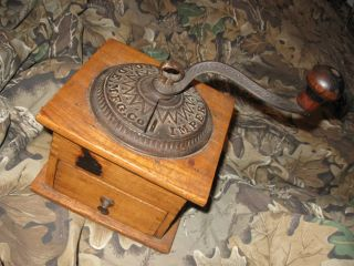 Antique Imperial Arcade Mfg Co Cast Iron & Wood Coffee Grinder Dovetail photo