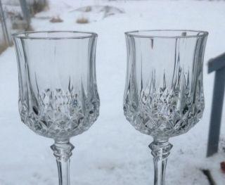 Cristal D ' Arques Longchamps 2 Clear Cut Crystal Wine Juice Goblet Stem 6.  5