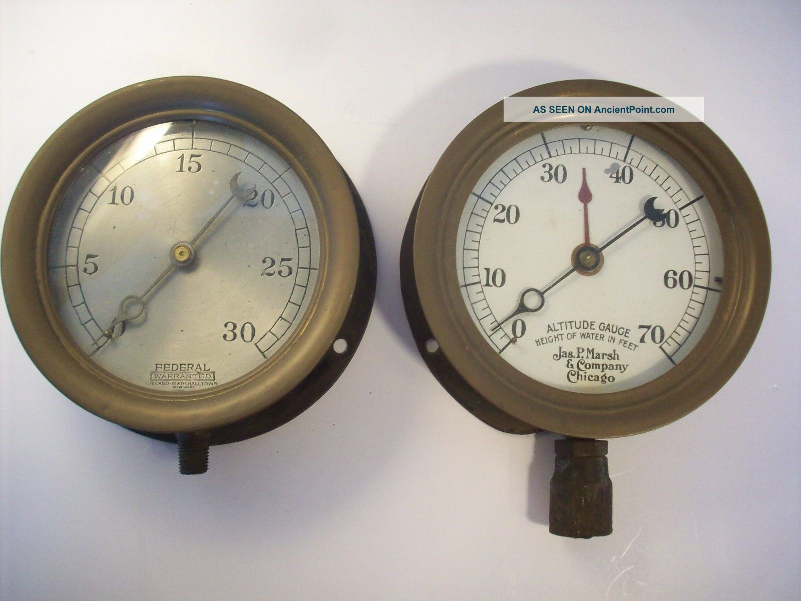 Vintage Industrial Machine Age Pressure & Altitude Gauges Steampunk Other photo