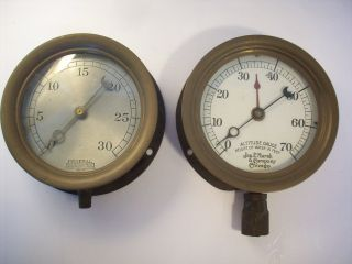 Vintage Industrial Machine Age Pressure & Altitude Gauges Steampunk photo