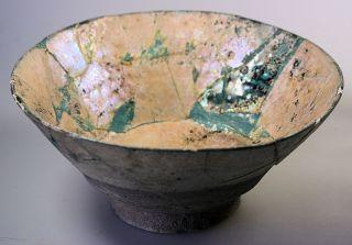 Islamic Blue Glazed Bowl With Black Painted Details,  Gold Iridescence,  Kashan ? photo