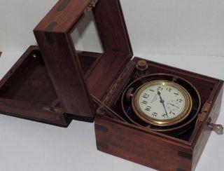 Antique Waltham Deck Watch Clock Gimbal & Wood Box U.  S.  Army C.  1911 Wwi photo