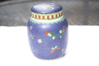 Small Signed Totai Japanese Cloisonné Lidded Jar Meiji Retired Collector 9 photo