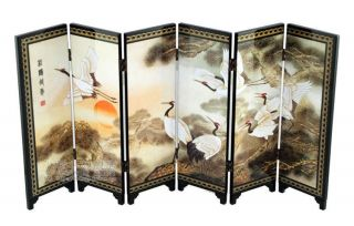 Chinese Lacquer Painting Folding Screen Songhe Pattern photo