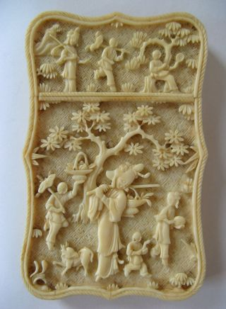 Antique Chinese Deeply Carved Cow Bone Card Case 1850 photo